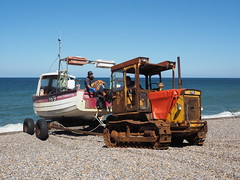 Launching the fishing boat (Megashorts) Tags: olympus omd em10 mzd 1240mm f28 pro rust decay rot neglected neglect machine corrosion corroded trackmarshall tracked tractor crawler 2016 norfolk england uk weybourne