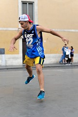 The launch (jeremyhughes) Tags: rome street dancer dancing hiphop performer performing performance airborne dance popping locking poppingandlocking shorts singlet vest hat sneakers intheair city urban outdoor nikon d750 nikkor man youth athletic deltoids rhythm talent adidas streetdance streetdancer