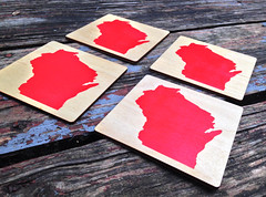 "Stencil Painted ""Wis-Coaster"" (made by mauk) Tags: laser lasercutting coaster wisconsin mauk2"