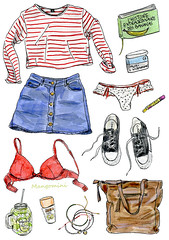 2016 April - Cindy Mangomini (Cindy Mangomini) Tags: cindymangomini cuteness mangomini illustration illustratedlife illustrator drawing handdrawn fashiondrawing whatiworeindrawings fashion fashionillustration fashiondiary ootd outfit gouache watercolor watercolour whatiwore 2016 spring summer stripes denimminiskirt underwear lingerie redbra banana bananas allstars converse converseallstar