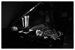 Philip Corner & Phoebe Neville @ Cafe Oto, London, 19th September 2016 (fabiolug) Tags: candles candle flowers philipcorner phoebeneville piano pianoforte pianist composer fluxus cafeoto london dalston music gig performance concert live livemusic leicammonochrom mmonochrom monochrom leicamonochrom leica leicam rangefinder blackandwhite blackwhite bw monochrome biancoenero 35mmsummicronasph 35mmf2summicronasph summicronm35mmf2asph summicron35mmf2asph 35mm summicron leicasummicron leica35mm