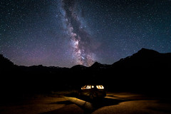 Galaxy (Bernd Thaller) Tags: salzburg österreich austria sportgastein milkyway galaxy stars night carlight silhouette mountains outdoor lightpattern pattern blue yellow magic sky