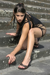 Nathalie 33 (The Booted Cat) Tags: sexy cute girl model legs miniskirt highheels heels sandals feet mules