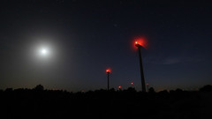 Wind power field at night (TomasMazon) Tags: windpower wind power moon landscape noight night nightphotography