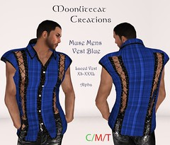 Muse Mens Vest Blue Ad Pic (moonlitecat) Tags: hunt your inner slut moonlitecat creation mesh slink belleze maitreya fimesh rigged high heel collar gacha spikes leather punk skirt haltertop halter top laced vest mens men women womens moon moonlite hudded texture change