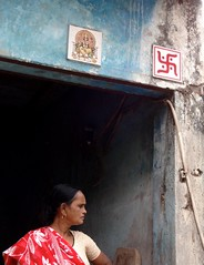 Swastika on doorway, Delhi, India (CultureWise) Tags: india swastika doorway symbols