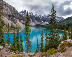 Moraine Lake, Banff NP (Ms Stacy) Tags: mountains rockymountains canada canadianrockies lake water glacial aqua blue morainelake banffnationalpark