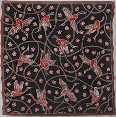 cranes (jani.na) Tags: silk scarf hand painted cranes birds crane black burgundy red light gold bordeaux gutta frenchsilkdyes habotaisilk pattern design graphic textile fabric original jani nanavati janina 2016