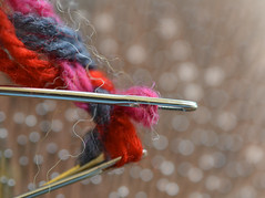 Three sharp needles (Snowflake110) Tags: macromonday handle with care needles wool sharp bokeh