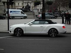 Bentley GTC V8 (kenjonbro) Tags: uk england white london westminster trafalgarsquare continental convertible gt cabrio charingcross v8 bentley 2012 sw1 gtc drophead kenjonbro fujifilmfinepixhs10 nk12cxl