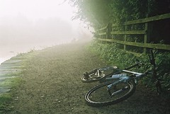 Lost in the Fog - Mountain Bike (digital internet) Tags: green water bike fog outdoors cycling bottle ride wheels transport mountainbike tires environment tyres morningdew shrubbery bikeriding foggymorning gravelpath hazymorning goinggreen