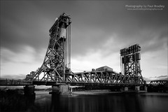 Newport Bridge (B&W LE) (ScudMonkey) Tags: bridge bw monochrome canon slowshutter middlesbrough manfrotto 1930 rivertees ef1740mmf4l nd1000 nd110 804rc2 paulbradley teesnewportbridge 055xprob 5dmkii centrelift