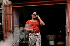 Halwai with a Phone (Devesh Uba) Tags: street portrait india streetphotography jaipur rajasthan streetportraits streetsofindia streetsofjaipur halwai deveshuba