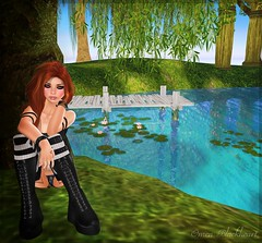 [ Omen ] Chillax Pose ([ Omen ]...accepting clients & bloggers) Tags: life woman nature girl digital pose relax pond women femme relaxing posing blogger sl secondlife virtual sit blogging static second pensive blackheart chill omen chillax omenblackheart