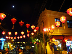 Lanterns and the Moon (William J H Leonard) Tags: street moon building architecture night buildings asian evening town asia southeastasia vietnamese colonial vietnam hoian lanterns lantern southeastasian southernvietnam vietnameselanterns