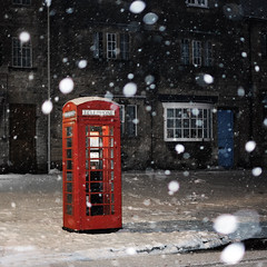 Booth (Andrew Lockie) Tags: winter red england snow english booth fuji box telephone icon cotswolds kiosk iconic k6 chipping campden xe1