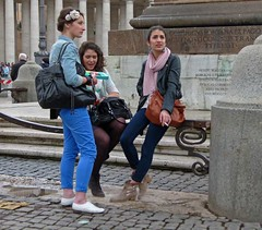 sigaretta (Andy WXx2009) Tags: street city girls people urban italy rome roma sexy beauty fashion women europe sitting legs boots cigarette candid femme streetphotography style meeting smoking jeans bags brunette talking scarfe