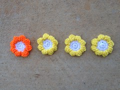 Four clusters w/ends woven in (crochetbug13) Tags: flickriosapp:filter=nofilter uploaded:by=flickrmobile crochet crocheted crocheting crochetflowers crochethexagons crochetblanket crochetafghan