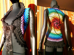Granny Circle Vest With Black Fancy Fur Swirl And Black Broomstick Lace Decoration (babukatorium) Tags: pink blue red orange black color green art wool fashion rose yellow vintage circle sweater rainbow furry colorful warm purple recycled handmade lace turquoise teal burgundy oneofakind crochet moda violet fluffy style mandala retro bow romantic hippie swirl ribbon vest psychedelic tulle cardigan bohemian multicolor shrug waistcoat gilet whimsical darkblue ruffle bolero haken häkeln emeraldgreen crochê grannysquares ganchillo babypink colete chaleco royalblue fuxia uncinetto かぎ針編み tığişi horgolt babukatorium