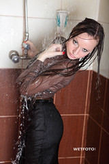 #248 Wetlook in Business Clothes with Sexy Girl. Beautiful brunette in shirt and black skirt with tights in heels, get wet fully clothed in the jacuzzi and shower. (Wetlook with WetFoto.com) Tags: woman black sexy wet water girl beautiful smile shirt swimming swim shower photo outfit clothing model wasser adult free tights skirt jacuzzi business soak online heels getwet brunette splash baden havefun dripping wethair soaked nass wetlook madchen fullyclothed wetclothes wetgirl wetfoto