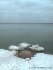 Ice ... doings (Ken Scott) Tags: longexposure winter usa ice twilight michigan shoreline lakemichigan greatlakes february freshwater leelanau 2013 olympuse620 kenscottphotography kenscottphotographycom