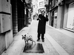 Dog time (unoforever) Tags: street people dog monochrome photography calle gente walk streetphotography perro paseo abuela oldwoman streetphoto fotografa castelln spmonochrome unoforever