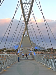 Tempe pedestrian bridge (phxdailyphotolady) Tags: bridge blue sunset arizona lake clouds lights evening photographers pedestrian tempe