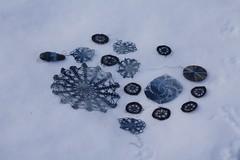 indigo in the snow (knitalatte11) Tags: blue winter snow ontario handmade crochet indigo wrapped seastone handdyed naturaldyeing futureprojects vintagethreads woodendisk