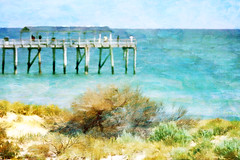 down by the sea (cheezepleaze) Tags: sea summer art painting seaside jetty textures foolingaround hss flypaper
