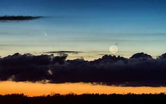 Comet Pan-STARRS (C/2011 L4) and the Moon (Sky Noir) Tags: sunset moon clouds march 12 comet l4 2013 panstarrs c2011 cometpanstarrs panstars yahoo:yourpictures=bestof2013