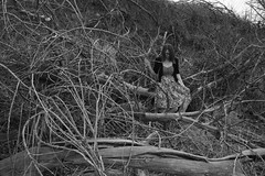 (Miss Marisa Renee) Tags: wood trees blackandwhite nature girl monochrome female digital canon march sweater pond model pretty chaos dress boots branches hill megan clementine greyscale wooded braches naturalarea xhouseofleaves