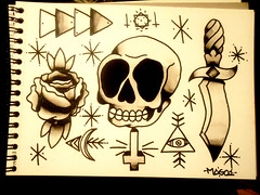 1º tattoo flash (M ∆ G O) Tags: white black art rose tattoo triangles stars skull cross flash sheet dagger mago magoart mago1