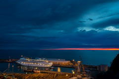 Dawn by Name... (ajecaldwell11) Tags: blue light newzealand sky clouds port sunrise dawn day ship cloudy napier hawkesbay cuise pacificdawn