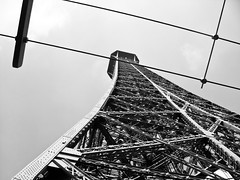 Up the Eiffel (Kyler Barrett) Tags: trip vacation holiday paris france tower up lines metal fence high rust europe pattern tour mechanical nail eiffeltower guard rail eiffel eifel line le massive bolt huge tall leading height linear