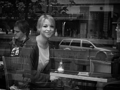 The smile that launched a thousand sips in B&W (Ronan Collett) Tags: street leica portrait berlin lens photography 50mm candid olympus summicron micro 250 adaptation ep1 43rds