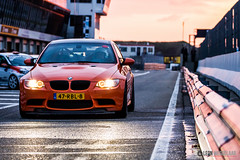 BMW M3 GTS returning home under a twilight sky (Leon Weggelaar Fotografie) Tags: sunset sky orange netherlands car reflections twilight track dusk headlights pit racing bmw m3 circuit zandvoort gts pitlane cpz circuitpark