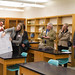 Guests on a tour of EMU's science labs hear Heather Johnson, LSY Architects, Silver Spring, Md., describe renovation design features that will support academic goals.