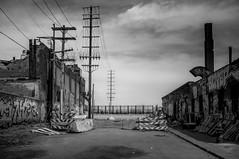 closure. (jonathancastellino) Tags: architecture graffiti detroit mi michigan usa easternmarket bridge dequindrecut closure barrier power wire stack