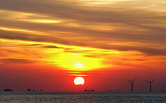 Sunset across Burbo Bank (sab89) Tags: sunset across burbo bank wirral new brighton coast wind farm shipping orange