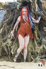 _MG_9734 (Deadly Darling DP) Tags: beach sand nature outdoors dreadlocks gothic goth woman chick tattoos makeup log driftwood tree roots