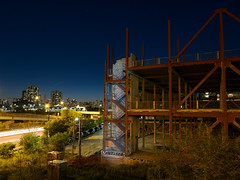 Graffitti by flashlight (StephenCaissiePhoto) Tags: exposureblending urban graffitti toronto donvalley building construction night bluehour dusk gloaming cityscape sequence phaseone p30 captureone