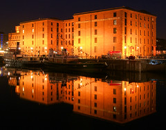 Albert Dock (Colin__Murray) Tags: liverpool merseyside england uk water night sky lights reflection sony a330 exposure longexposure color colour boat dock albert canning building listed mirror