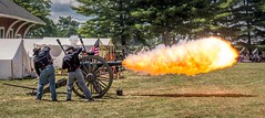 Boom! (Wes Iversen) Tags: americanflags civilwardays hss michigan nikkor18300mm portsanilac sliderssunday cannons men reenactments reenactors tents trees