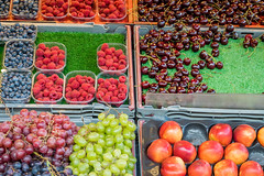 stockholm fruit stand (Marcy Leigh) Tags: scandinaviaaugust2016 sweden travel fiveaday stockholmfruitstand fruit fruitstand blueberries raspberries grapes peaches cherries 116picturesin2016