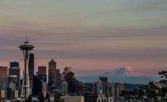 City + Nature (ashpmk) Tags: seattle downtownseattle skyline sky sunset sunsetsky mtrainier mount mountrainier