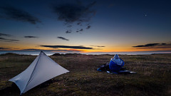 Lindisfarne Dawn (35mm disjointed) Tags: holyisland wild camp dawn sunrise watching tarp lindisfarne northumberland coast sleeping bag bed up early