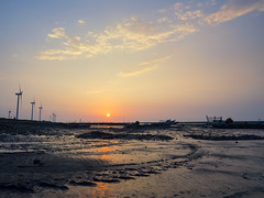 End of the day (Ted Tsang) Tags: olympus em1 1240mmf28 clouds sky reflections wetlands beach landscape sea seascape boat ship silhouettes sunset taiwan chunghua lugang bluehour magichour     windmill