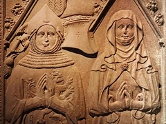 Tombstone of Heinrich (The Younger) Beyer von Boppard and his wife Lisa von Pyrmont Germanic End of 14th century CE Red Granite (mharrsch) Tags: tombstone gravestone funerary armor armoured medieval middleages german husband wife male female 14thcenturyce neuesmuseum berlin germany mharrsch