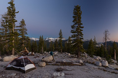 Blue Hour from a Granite Ridge (au_ears) Tags: california backpacking unicornpeak yosemite tent cockscomb dusk halfdome yosemitevalley 2016 bluehour camping campsite
