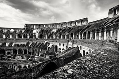 Inside the arena (Anthony Plancherel) Tags: architecture category colesseum decay internal italy places rome travel italian italia historic history landmarks canon550d canon canon1585mm monochrome clouds greyclouds cloudysky cloudy inside arches stonework stone arena stadium blackandwhite whiteandblack bw